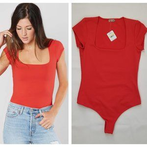Free People Square Eyes Bodysuit Red NWT